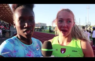 Interview Awa SENE et Coralie COMTE 100m Haies Meeting National 1 Cergy-Pontoise